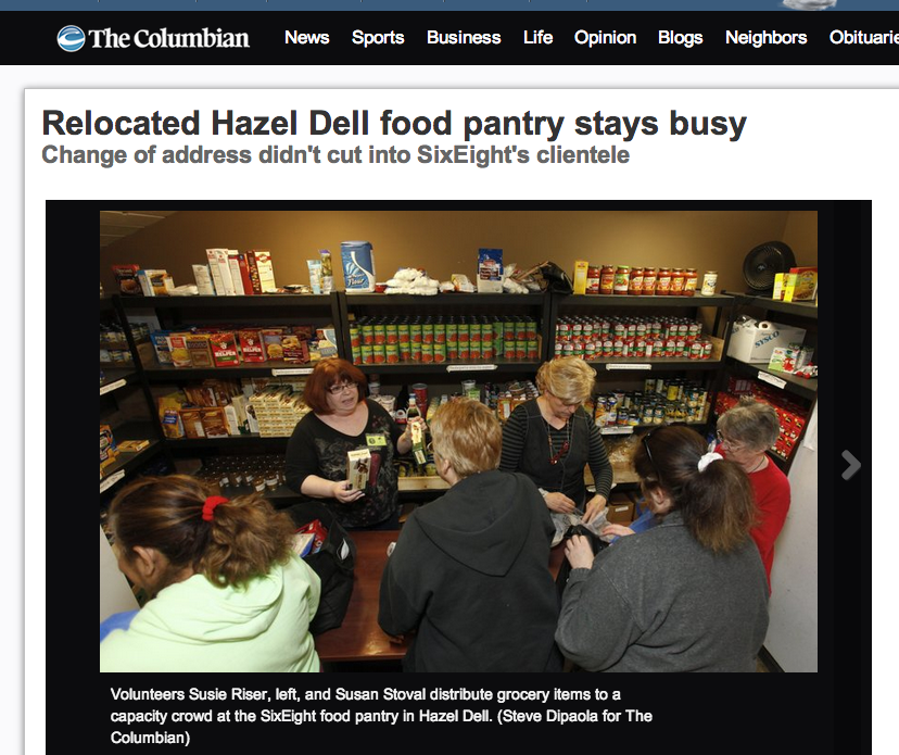 SixEight Food Pantry Makes The Front Page of the Columbian